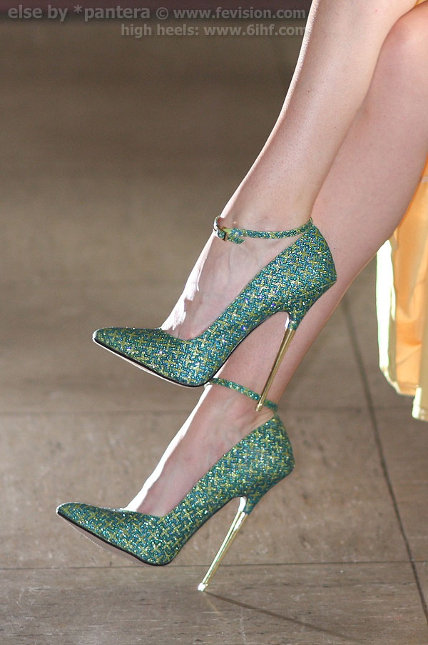 Glitter Green Metallic Heel Extreme High Heel Pumps