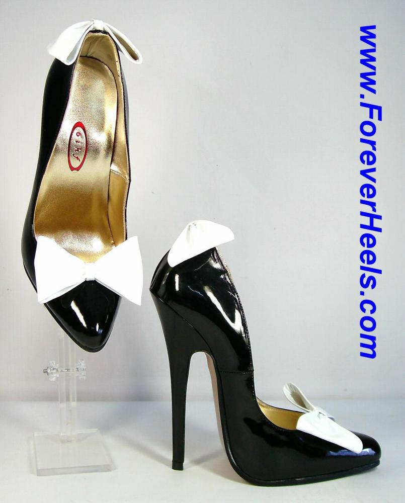 Rounded Pointed Toe High Heel Pumps with Front and Back Bow Ties