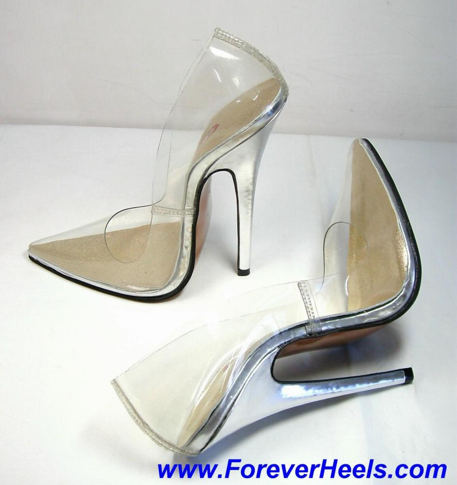 V-Shape Sharp Pointed Toe Transparent High Heel Pumps