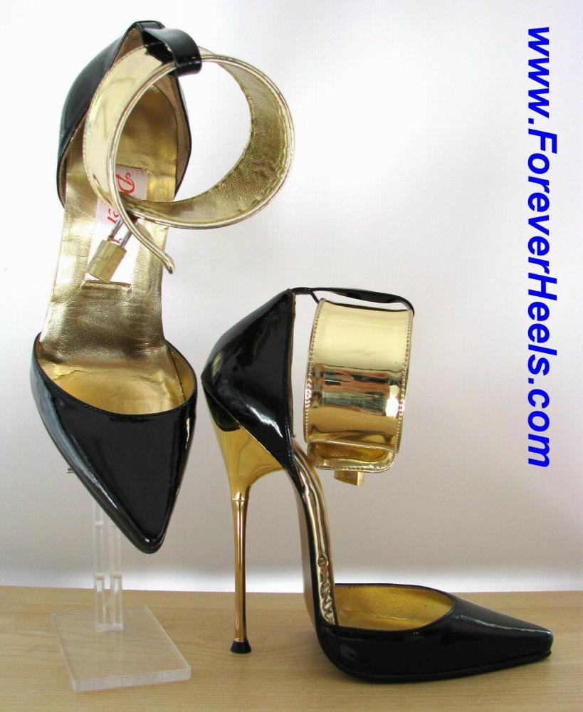 Sideless Wide Locking Ankle Strap V-Shape Sharp Pointed Toe High Heel Pumps