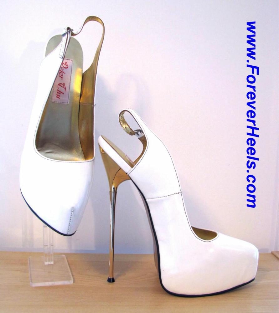 105a6edabe0 CHC R 20cm (8 inch) Gold Metallic Heels China Size 48 White Patent Leather  Hidden Platform