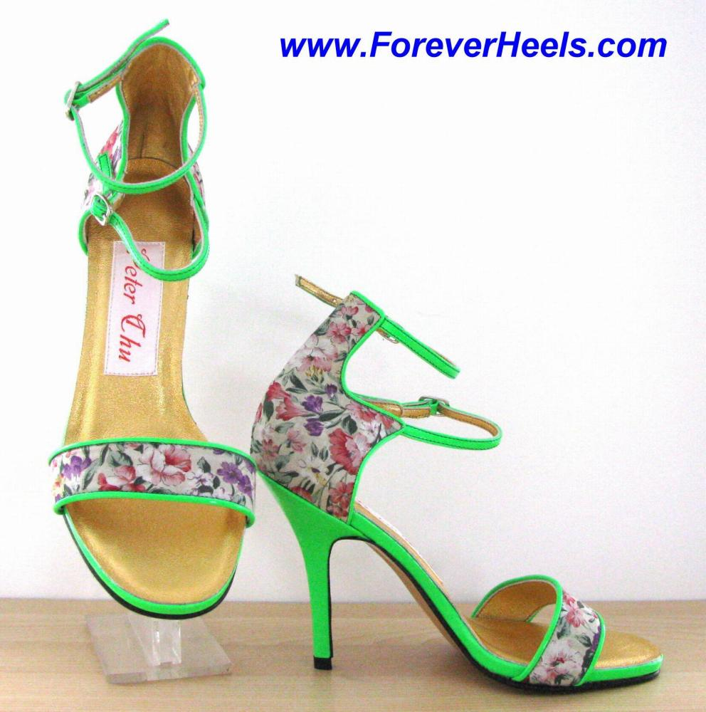 Single Toe Strap Double Ankle Strap High Heel Sandals with Piped Edges