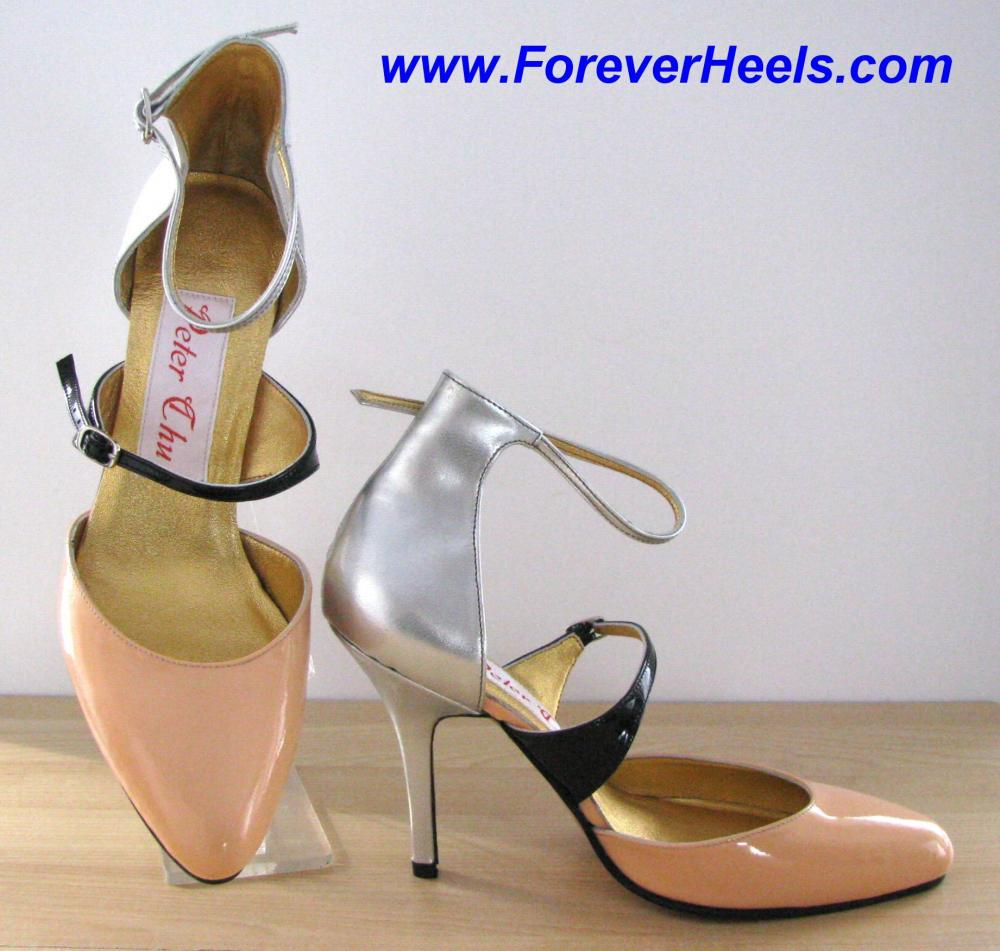 Tricolor Thin Instep Strap Closed Toe High Heel Sandals