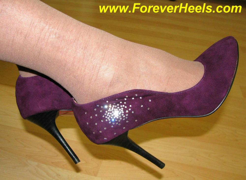 Classic High Heel Pumps with Rhinestone Pattern on Sides