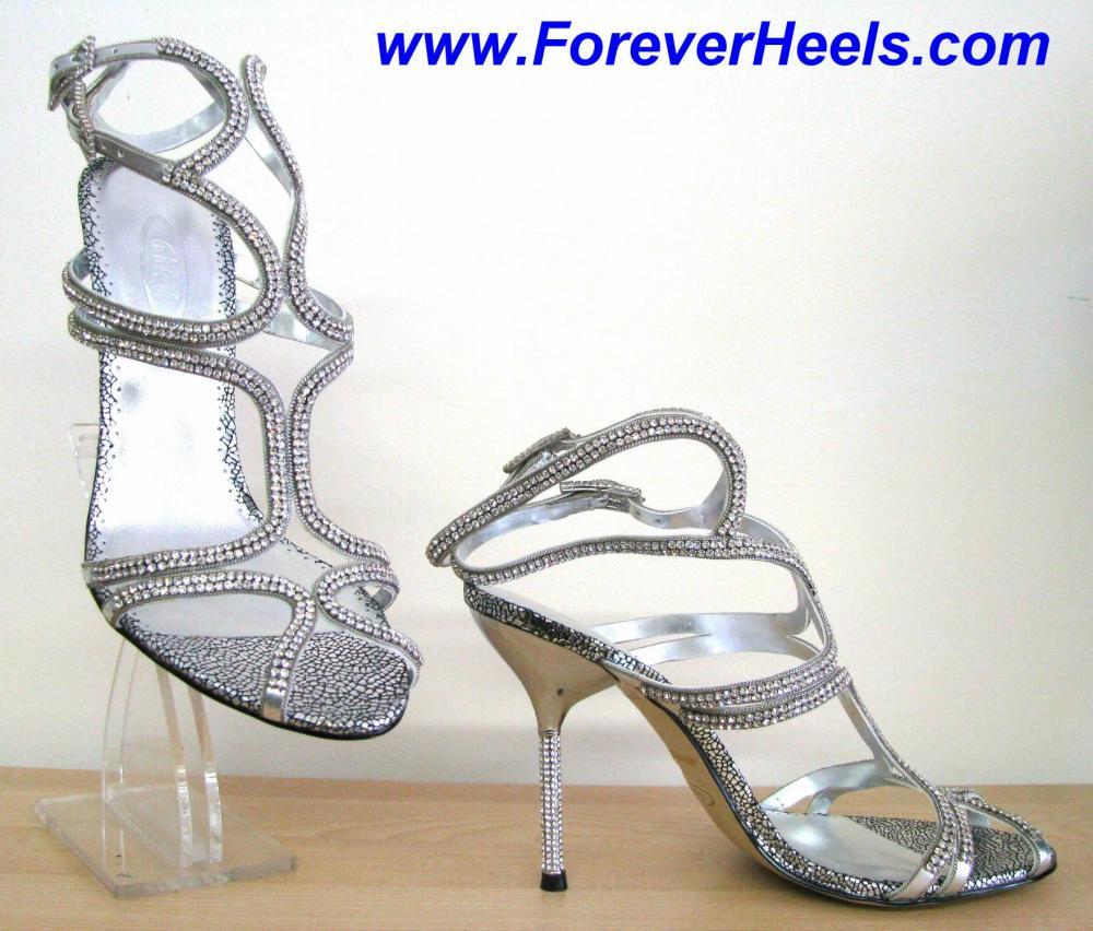 Czech Rhinestone High Heel Sandals with Rhinestone Heels
