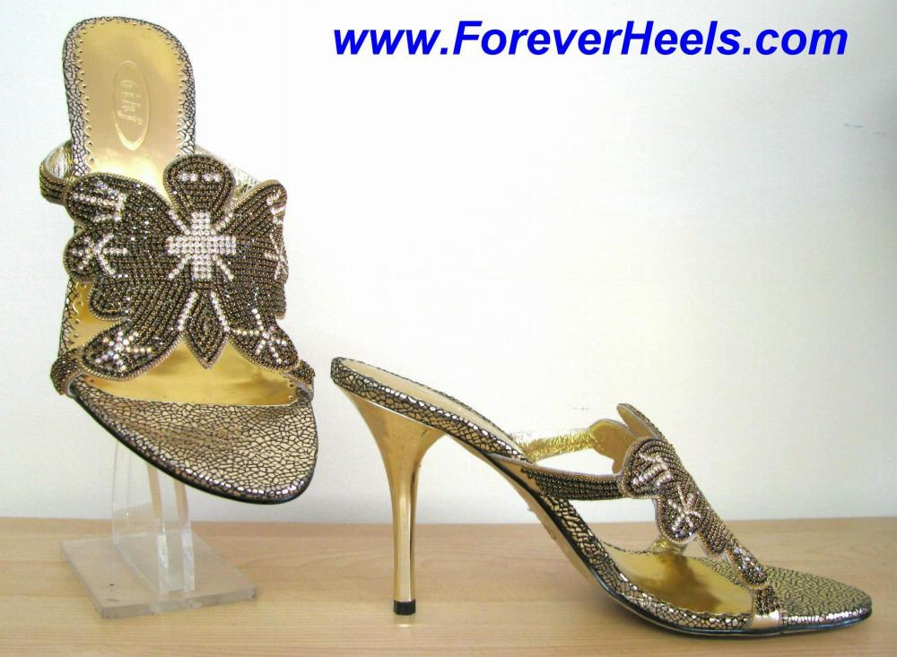 Butterfly Pattern Black and Clear Czech Rhinestone High Heel Mules with Gold Electroplated Heels