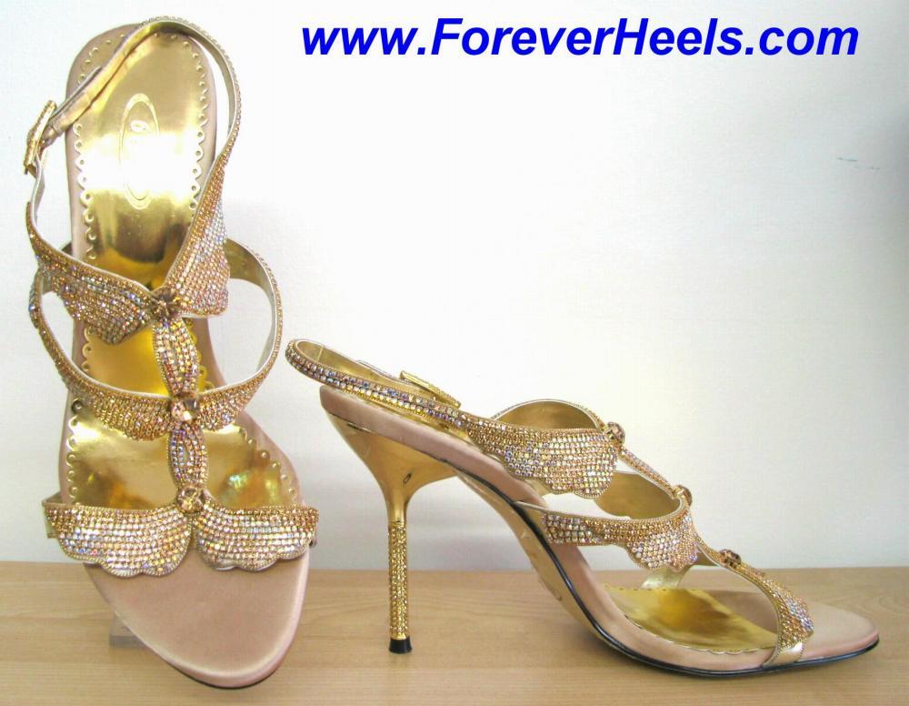 Butterfly Pattern Gold Multicolor Czech Rhinestone High Heel Sandals with Rhinestone Heels