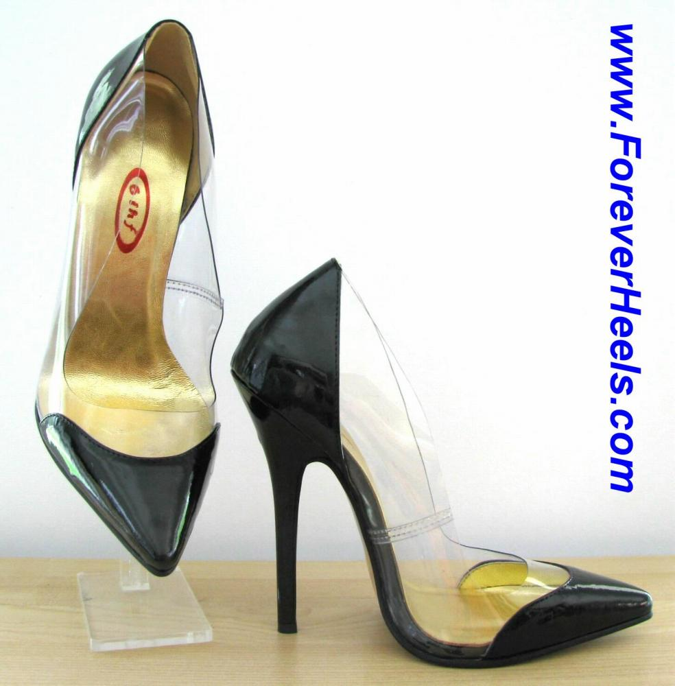V-Shape Sharp Pointed Toe Colored Toes and Heels Transparent High Heel Pumps