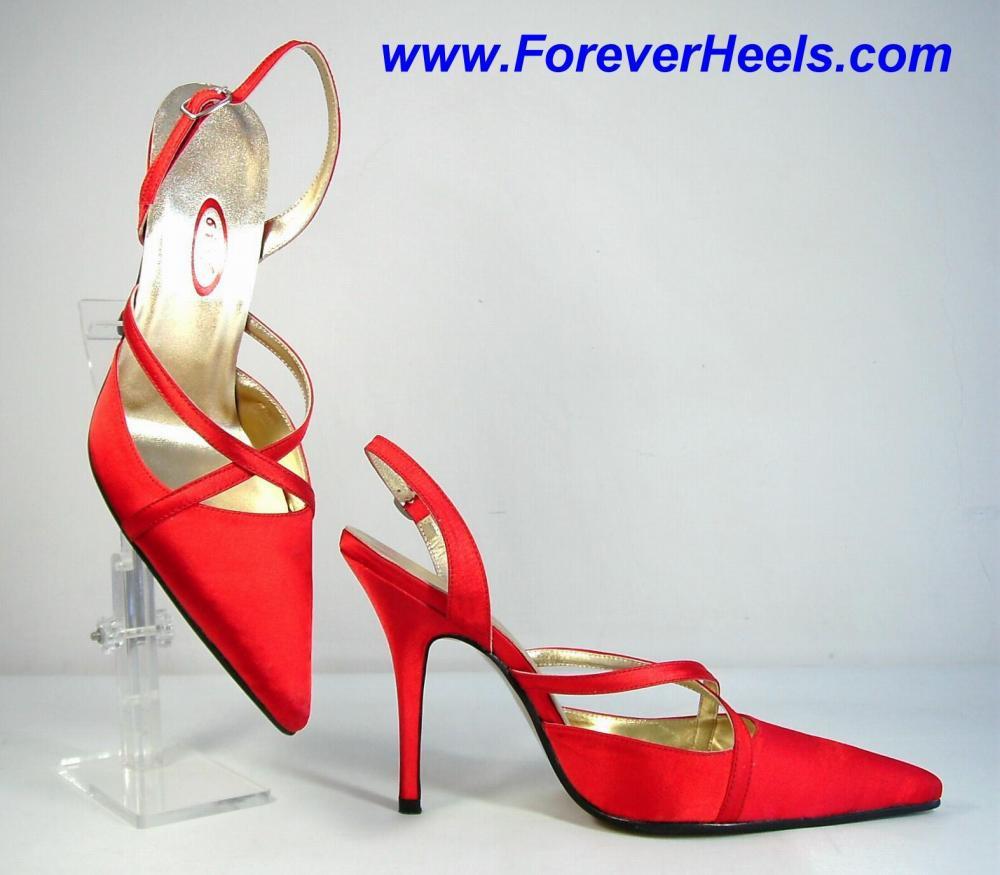V-Shape Sharp Pointed Toe Crossing Vamp Straps Slingback High Heel Sandals