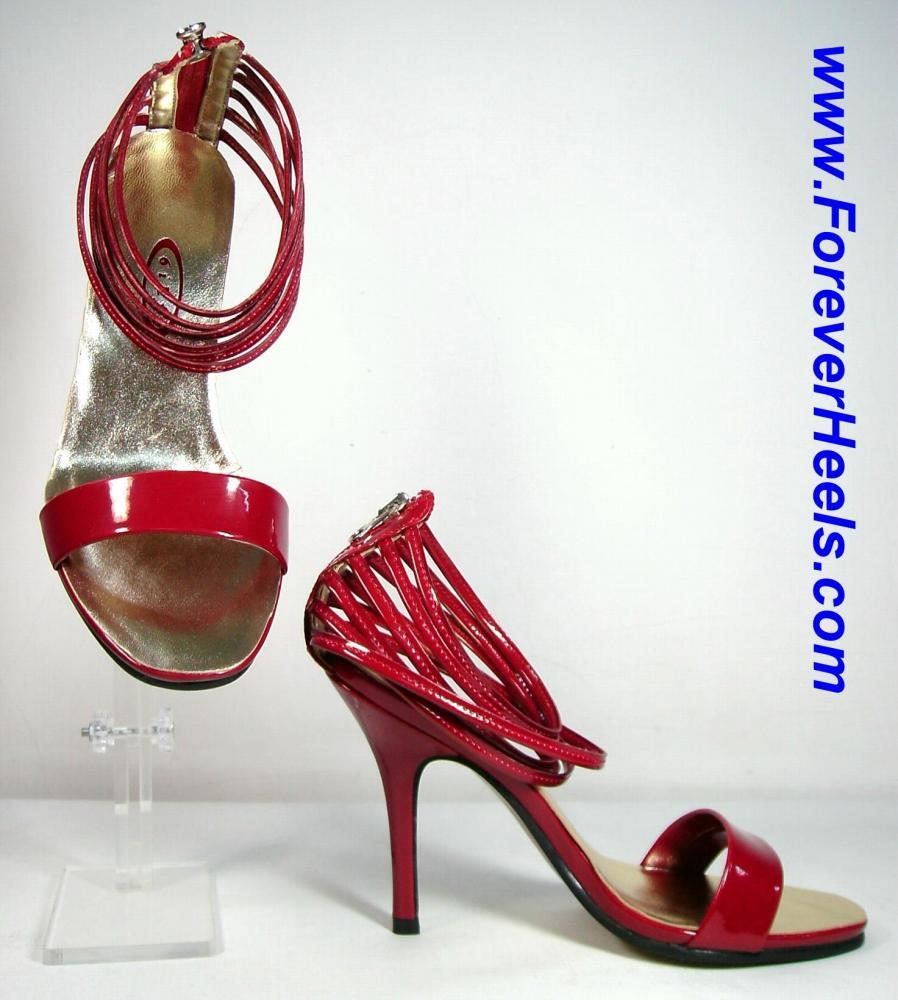 Single Toe Strap Six Spaghetti Ankle Strap Zipper Back High Heel Sandals