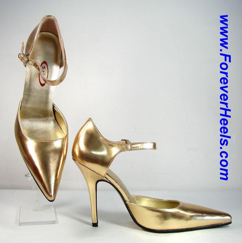 V-Shape Sharp Pointed Toe Sideless Single Instep Strap High Heel Pumps